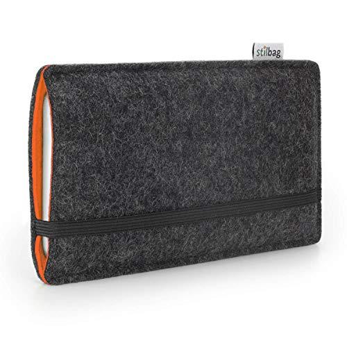 Stilbag Handyhülle Finn für Samsung Galaxy S9 | Farbe: anthrazit/orange | Smartphone-Tasche aus Filz | Handy Schutzhülle | Handytasche Made in Germany