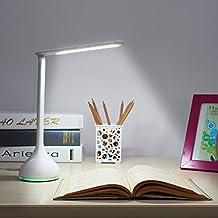 Amzdeal Lampe de bureau LED pliable pour lecture, lampe de table avec touche tactile rotatif à 180°