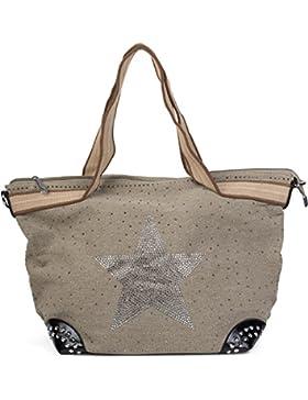 styleBREAKER Handtasche in Canvas Optik mit Strass Stern und Nieten, Schultertasche, Shopper, Damen 02012066