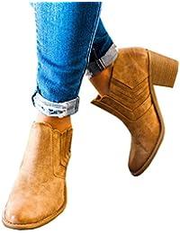 ZKOO Mujeres Botas Cortas Grueso Tacón Botines Chelsea Casual Zapatos Otoño Invierno