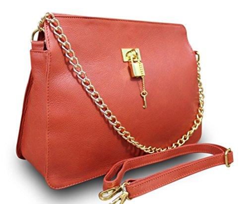 Made in italy sac de sac à main pour femme en cuir nappa peint à la main avec chaîne rouge