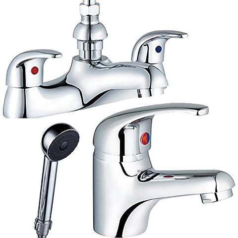 Soundlab Euro Style-Rubinetto con miscelatore per vasca da bagno doccia & Rubinetto miscelatore a leva singola per lavello, Zero 41)