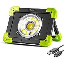 Sunix 20W Luz de Trabajo LED Portátil, Luces de Emergencia LED, Foco para Acampar, Baterías Recargables Incorporadas 1500LM 6000 mAh con Puerto USB Dual y Modo de Emergencia SOS.