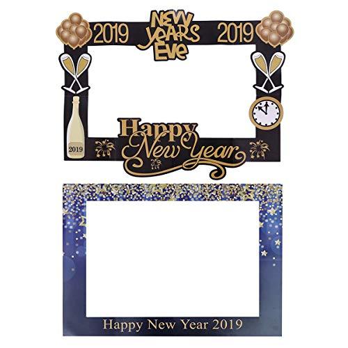 (BESTOYARD Bilderrahmen Fotorequisiten 2019 Happy New Year Papier Fotoaccessoires Fotobooth Zubehör Neujahr Party Deko 2 Stück)