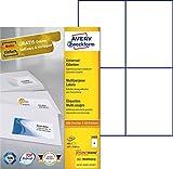 Avery Zweckform 3483 Universal-Etiketten (A4, Papier matt, 400 Etiketten, 105 x 148 mm) 100 Blatt weiß