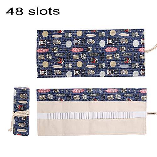 ZhengYue Wrap Leinwand Stifterolle für 48/72 Buntstifte und Bleistifte Stifteetui Roll-up Mäppchen für Künstler, Verpackung Mehrzwecktasche für Reisen/Schule (Eule , 48