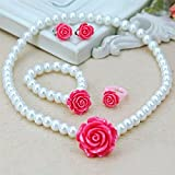 #7: Flower with Imitation Pearl Kids/ Toddlers Jewelry Set (with Ear Clips) (Rose pink, Pink)