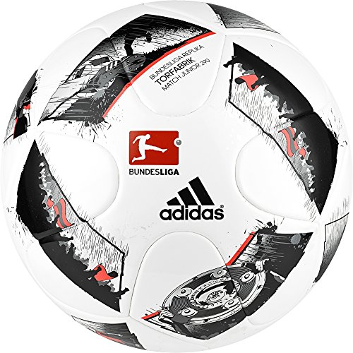 adidas DFL Junior 290 Fußball, White/Black/Solar Red, 5
