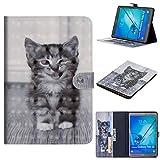 WIWJ Hülle Case für Samsung Galaxy Tab S2 9.7 SM-T815,Ultra Slim Gemalt Schutzhülle Tasche Case Ledertasche Lederhülle Schale Für Samsung Galaxy Tab S2 9.7 SM-T815-Smiley-Katze