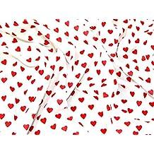 Sweet diseño de corazones vestido de polialgodón tela rojo sobre blanco–por metro
