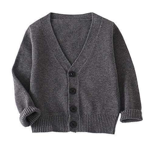 Livoral Baby Kinder Mädchen Langarm einfarbig Strickjacke Knopf Pullover Tops(Dunkelgrau,2-3 Jahre)
