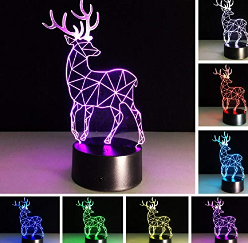 ZJFHL Box Day Kid Baby Neuheit Geschenke 3D RGB Nachtlicht Weihnachten Hirsch Lava Schlafzimmer Office Home Schreibtisch Tischlampe Urlaub Party Decor