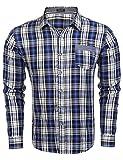COOFANDY Hemd Herren Karierthemd Bügelleicht Streifen Karo Hemd für Oktoberfest geeignet mit Brusttasche Blau L