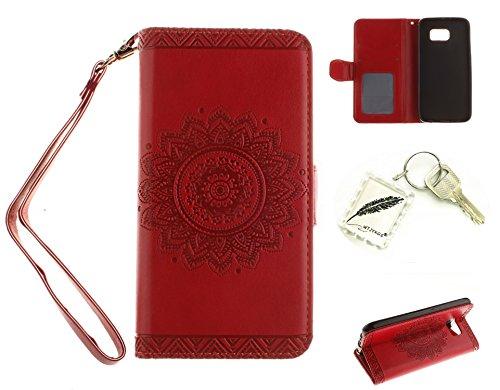 Silikonsoftshell PU Hülle für Galaxy S6 (5,1 Zoll) Tasche Schutz Hülle Case Cover Etui Strass Schutz schutzhülle Bumper Schale Silicone case(+Exquisite key chain X1)#AN (4)
