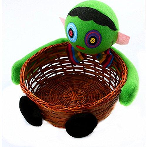 BlueSpace Halloween Süßigkeitenkörbe für Kinder, Snack-Halter, Obstschalen für Party-Dekorationen, Rattan und Korbweide, grün, Corpse