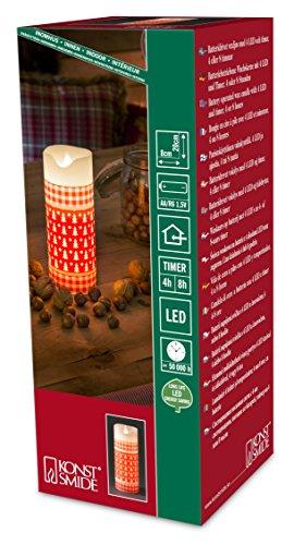 Konstsmide recargable interior 10cm vela con 4o 8hora temporizador y LED con forma de llama real, Rojo, 20 cm
