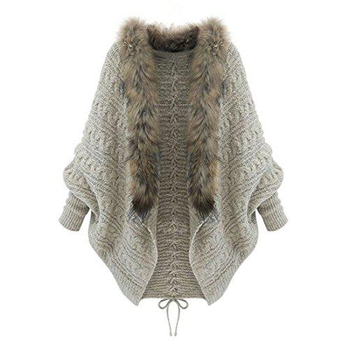 Damen Strickpullover Sannysis Damen Pullover Batwing Ärmel Strickjacke Mantel (Beige)