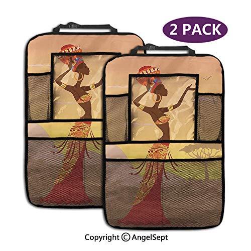 Not applicable Kick Mats Rücksitzschutz, Afrikanerin in Wüstenmöwen fliegen um Folk Female Stylish Artful Amber Tan, Aufbewahrungstaschen (2 Stück) -