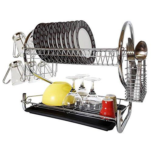 Arbeitsplatte Teller-trockner (Tatkraft Helga | Geschirrabtropfer aus Chromstahl für 17 Teller und 6 Tassen | Herausnehmbarer Besteckabtropfschale | Tropfschale | Langlebige, hochwertige, rostfreie Geschirrschale)