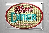 Blechschild Sprüche Mom's Diner Hinsitzen ruhig sein und essen Metall Wand Deko Schild 20X30 cm