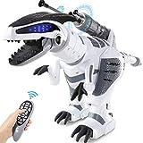 SGILE RC Ferngesteuert Dinosaurier Roboter, Programmierbar Dino mit Licht und Sound, Intelligent Interaktive Spielzeug mit Brüllen, Tanz- und Schussfunktion für Kinder Jungen Geschenk
