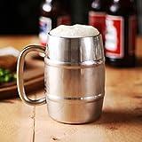 bar@drinkstuff Edelstahl-Bier-Fass-Becher 14oz / 400ml - Geschenk verpackte Isolierte Bier-Behälter