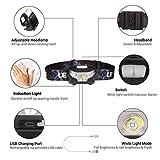 LIVEHITOP LED Stirnlampe USB Wiederaufladbar, IR Sensor Induktion Super Licht 3W Cree LED Scheinwerfer, Leicht Wasserdicht Scheinwerfer für Radsport, Läufer, Camping, Wandern, Angeln, Lesen (Schwarz)