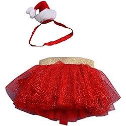 Xmiral Niñas Conjuntos de Falda Tutu y Banda para Cabello para Baile para Disfraces Cosplay Diadema Vestido Navidad (Rojo,5-6 años)