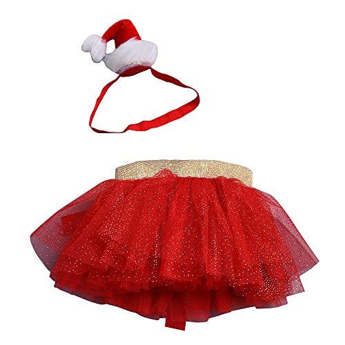 Huihong Baby Mädchen Weihnachten Kostüm Tutu Ballett Röcke + Stirnband Set Anzug für 0-8 Jahre alte Mädchen (Rot, L/ 7-8 Jahre) (Ballett Kostüm Für Jungen)