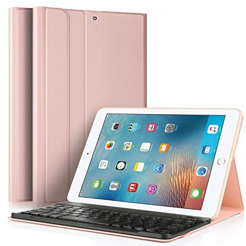 IVSO Teclado Estuche iPad 9.7' (iPad 6.ª generación) 2018/2017 [QWERTY], Slim Stand Funda con Removible Teclado para Apple iPad 9.7 (iPad 6.ª generación) 2018/2017 9.7 Pulgadas, Oro Rosa