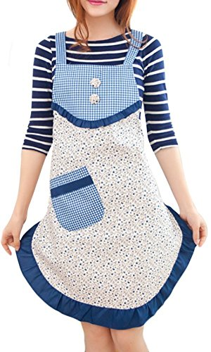 Butterme Women Korean Style Cute Grid Floral Printed Apron Kitchen Restaurant Bib Cooking Aprons with Pockets (Deep Blue)