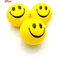 JRing Anti Stress Balls,Stress Ball,Stress Relief Ball,Smiley Squeezers,Hand Exercise Stress Balls, Perfect for Relieving Stress Anxiety(Pack of 3,Yellow)