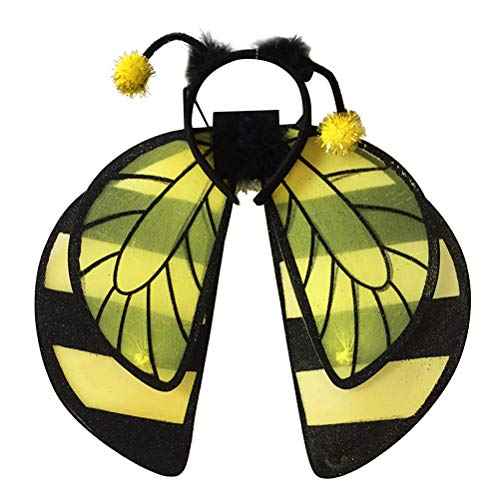Amosfun Bumble Bee Kostüm Kids Kinder Show Use Bee Wings Form Dekoratives Stirnband Set Halloween Kostüme