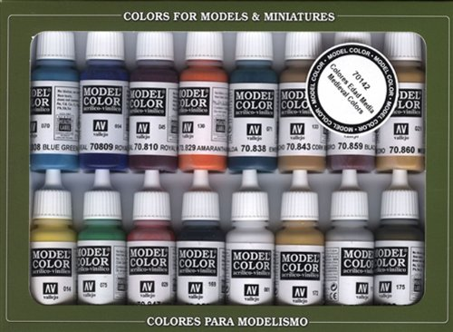Vallejo Model Color Set - Medieval Colors (x16 Colours) - VAL70142