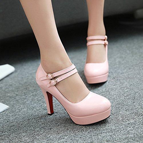 YE Damen Riemchen High Heels Plateau Geschlossen Pumps Lack Elegant Mary Jane Paty Schuhe Rosa