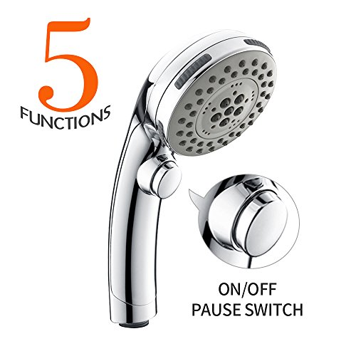 Homelody Duschkopf Regendusche 5 Strahlarten Handbrause Brausekopf verstellbar Handheld mit 5 Modi Dusche Wassersparer Wasserstop 1/2 Zoll verchromt