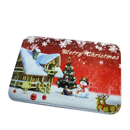 Absorbente impermeable Mat Decoración, Koly Navidad HD Impreso antideslizante alfombra de baño (Rojo)