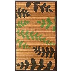 Monbeautapis 608908ciprés Hojas Anchos Alfombra bambú Natural 120x 70cm