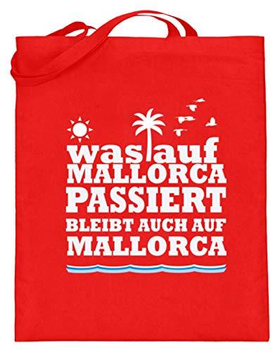 Auf Mallorca Passiert, Bleibt Auch Auf Mallorca. - Urlaub, Fest, Feier, Feiern, Party - Jutebeutel (mit langen Henkeln) -38cm-42cm-Rubinrot ()