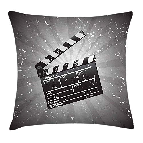 Throw Pillow Cushion Cover, Clapper Board on Retro Backdrop with Grunge Effect Director Cut Scene, Decorative Square Accent Pillow Case, 18 X 18 Inches, Grey Black White ()