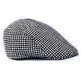 #5: Imported Children Cotton Hound Tooth Beret Cap Newsboy Flat Hat--Black+White