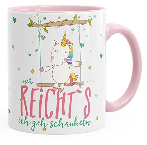 MoonWorks Kaffee-Tasse Einhorn Mir Reichts Ich Geh Schaukeln Spruch Unicorn Tasse mit Farbigem...