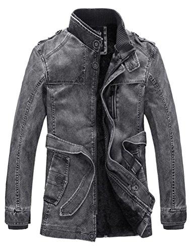 Vogstyle Herrn Winterjacke Kunstleder Lederjacke Pelz Fleece Mantel Jacken Art 7 Schwarz