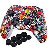 YoRHa D'impression Silicone Housse Silicone Couverture Skin Peau Coques Cas pour Xbox One S / X Manette x 1 (Graffiti Crâne) avec Capuchon de Joystick Poignées PRO Thumb Grip x 8