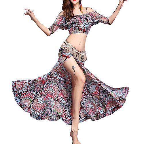 Q-JIU Frauen Bauchtanz Kostüm Mit Einem Spandex/Medium High Half Sleeve Gedruckten Muster (Diamant-Kette Nicht Im Lieferumfang Enthalten),White,