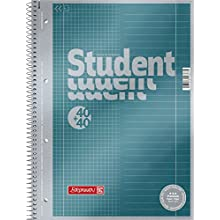 Brunnen 1067174 Vera Treated Cover with Metallic Effect A4 Lined Notepad/Student Premium Duo, 27/28, 90 g/m²; 40 Sheets Ruled, 40 Sheets Chequered