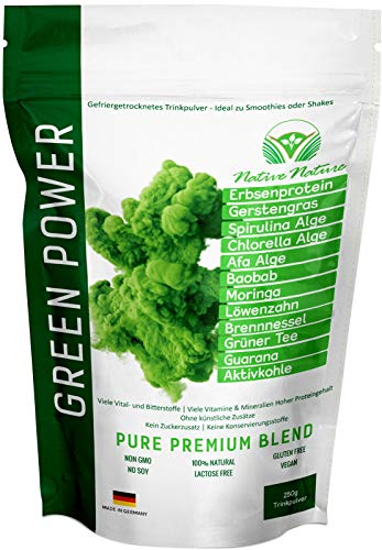 GREEN POWER - Superfood Mix mit Brennnessel, Löwenzahn, CHLORELLA, SPIRULINA, AFA Alge, Moringa,...