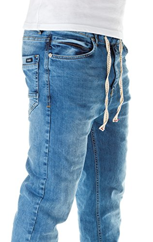 Yazubi Homme Jean Jogging Ash - Jogging Pantalon - Sweatpants in Jeans-Look denim light blue (20035)