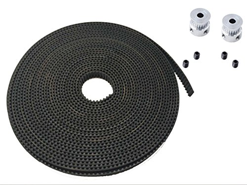 Preisvergleich Produktbild JSDL 2X GT2 20-Zähne Drucker Riemenscheibe + GT2-6mm Gummi Zahnriemen Gummigürtel Übermittlungsband (5m)