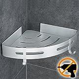 Wangel Estantería de Esquina para Baño Ducha, Pegamento Patentado + Autoadhesivo 3M, Aluminio, Acabado Mate, Estantes